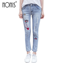 Nonis 2018 New Spring Ripped Patchwork Boyfriend jeans Women Casual Mid waist Street wear Student jeans female Loose trousers(China)