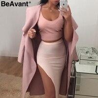 BeAvant Ruffled теплое шерстяное пальто женские отложным воротником розовый длинное пальто осеннее пальто женский пояс-кушак Черный Зимняя Куртк...