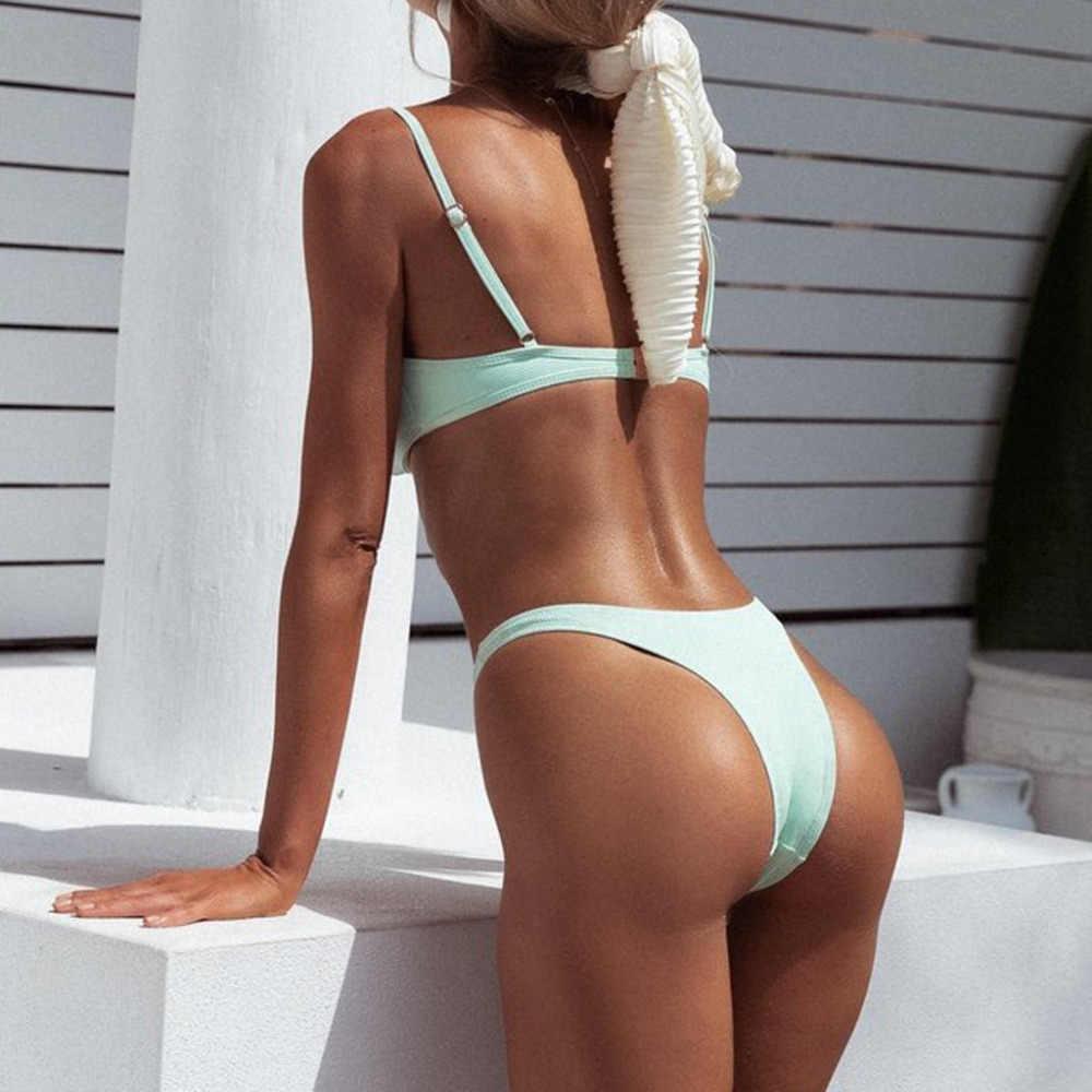 Bikini 2019 zomer hot nieuwe solid lage taille biquini sexy Vrouwen Push-Up Bh Bikini Set Badpak Badmode # sx