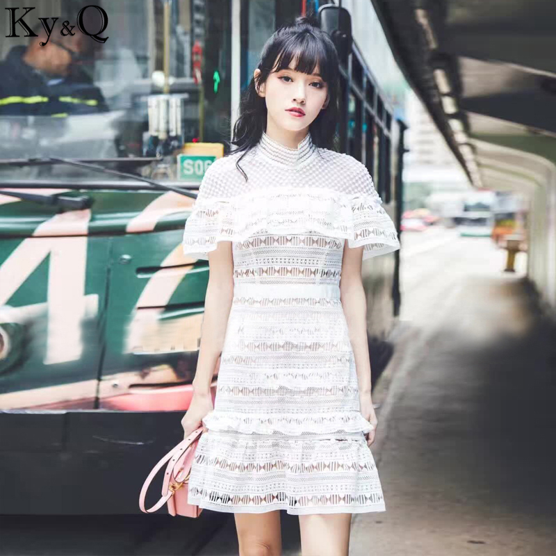 Ky&Q 2017 Summer Beach White Lace Dress Women Sexy Off The