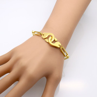 Personality Yellow Gold Rose Gold Silver Plated 316L Stainless Steel Thick Box Simple Handcuff Lover Bracelet