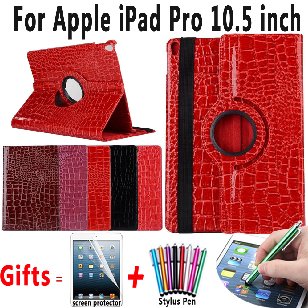 360 Rotating Crocodile En Cuir Smart Tablet Housse de Protection pour Apple iPad Pro 10.5 A1701 A1709 Coque Capa Funda Titulaire