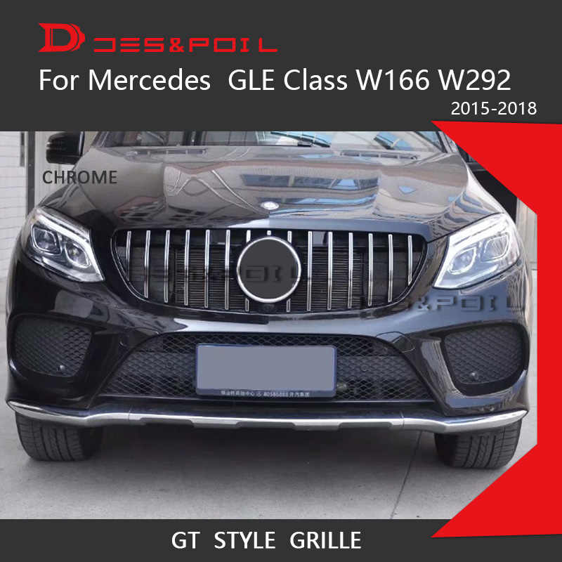 Gt R Grille Voor Mercedes Benz Gle Klasse W166 W292 Coupe Suv Chrome Front Racing Grill 2015-2018 GLE300 GLE320 GLE350 GLE63 Amg