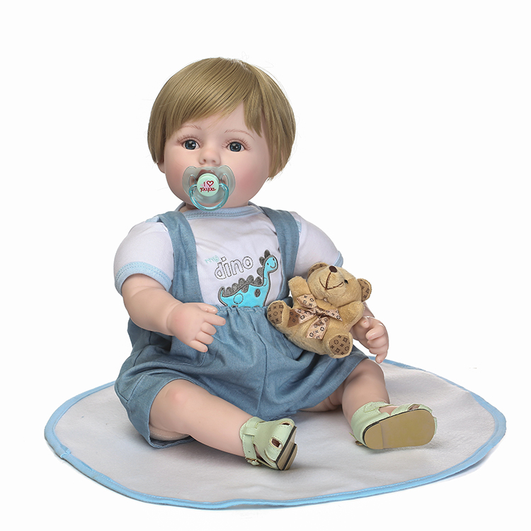 55cm Silicone Reborn Baby Doll Toys 22inch Vinyl Newborn Handsome Boy Babies Dolls Birthday Xmas Gift Girls Brinquedos Bonecas 55 cm 22 inch silicone reborn baby doll soft vinyl girls christmas baby toys birthday gifts