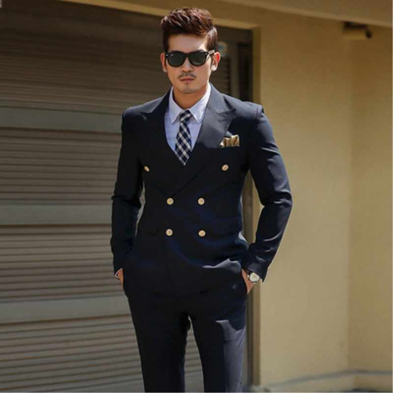 TPSAADE Men's Black Double Breasted Korean Slim Fit Suit Gentleman Suit Business Groom Wedding Dress (Top Jacket + Trousers)247