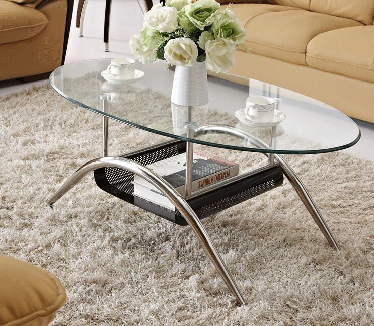 Free shipping Stainless steel. Toughened glass tea table. Small tea table 1