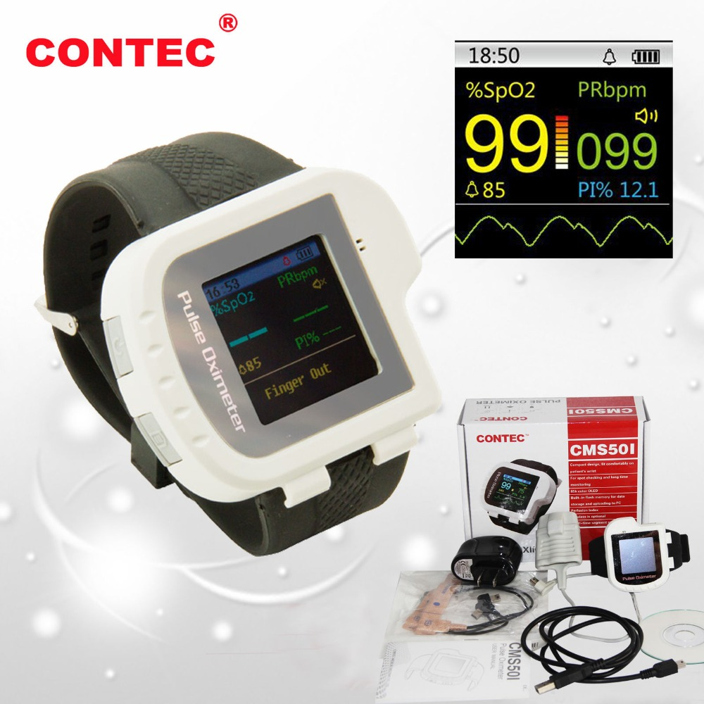 Image 2 - Wrist Oximeter Pulse Rate Monitor Sleep Study sleep apnea Detector Overnight Recording SPO2 Monitoring CONTEC CMS50I Well Packed-in Blood Pressure from Beauty & Health