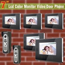 5 Monitor 2 Cámara con cable wired 7 video de la puerta sistema de intercomunicación timbre de la puerta de vídeo del teléfono de intercomunicación de control de acceso de intercomunicación timbre video
