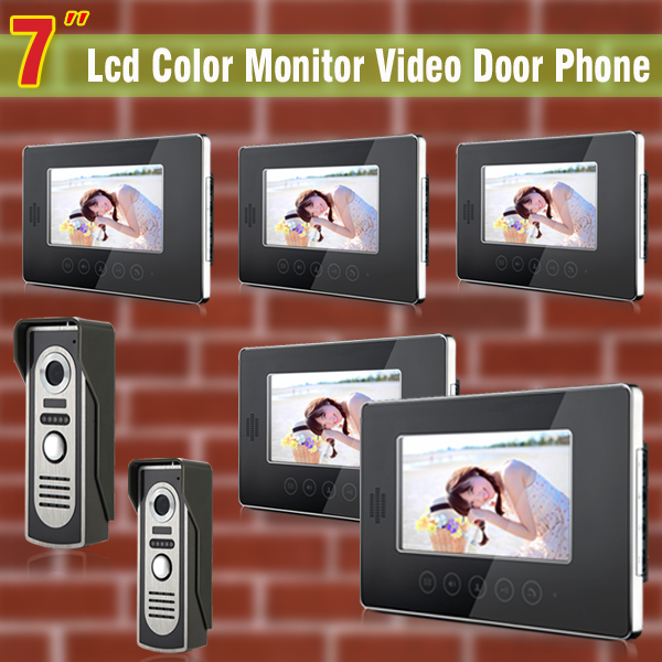 Wired 7inch video door phone intercom system video doorbell visual intercom Kit 5-touch Monitor 2-Aluminium alloy Camera