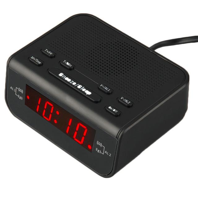 Sleep Timer Digital FM Radio Reloj Despertador Con Alarma Dual LED Rojo Visualización de la Hora Venta Caliente