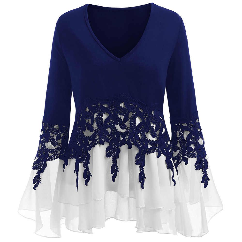 Wipalo размера плюс 5XL многослойная шифоновая блуза с расклешенными рукавами и аппликацией, женские топы, женская блуза 2018