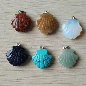 Image 2 - 2019 nieuwe fashion diverse natuursteen gesneden bloem bedels hangers voor sieraden markering 12 stks/partij Groothandel gratis verzending