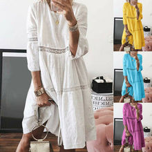 Women's Bohemian Solid Color O-Neck Cutout 3/4 Sleeve Casual Holiday Dress ladder cutout sleeve jumper