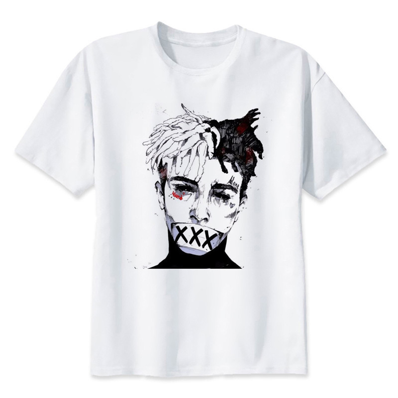 Newest Fashion Man Tshirt Xxxtentacion Summer Fashion T-shirt Casual White Funny Cartoon Print T-shirt Hip Pop Tops
