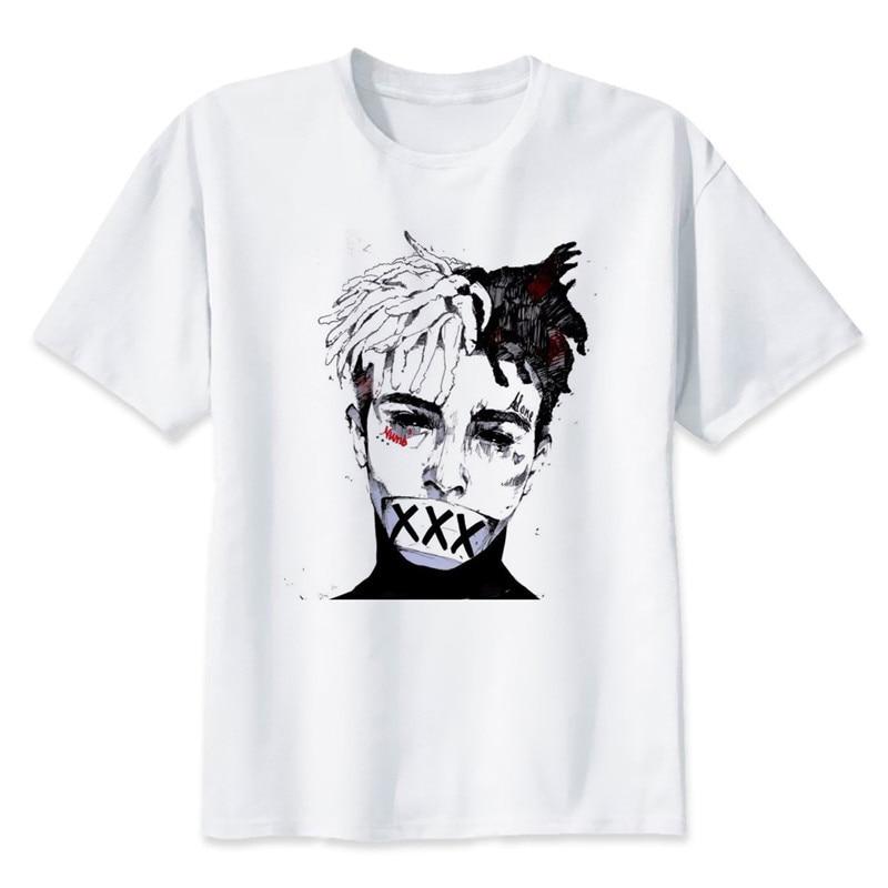 Nueva moda hombre Camiseta Xxxtentacion verano moda camiseta Casual blanco divertido dibujos animados impresión camiseta Hip Pop Tops