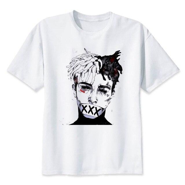 5e3ea2cc8 Nueva moda hombre Camiseta Xxxtentacion verano moda camiseta Casual blanco  divertido dibujos animados impresión camiseta Hip