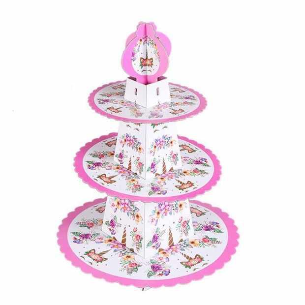 1 набор Единорог цветок тема торт стенд бумажные для дня рождения торт стенд круглое пирожное-Корзиночка пластина для Свадьба; для торта поставки