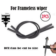 "2PC Wiper Refills Universal 6mm 24"" Or 26"" Cut To Size Rubber Frameless Wiper Blade Refill Windshield Windscreen Replacement"