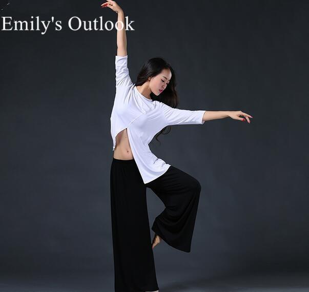 Живота Танцы Практика одежда 2-комплект из двух предметов (рубашка с длинными рукавами + Брюки для девочек) современный Танцы костюм черный белый цвет; Бесплатная доставка
