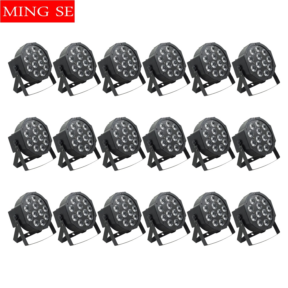 Stage Lighting Effect Fashion Style 18pcs/lots Led Par 12x12w Rgbwa Uv 6in1 Flat Par Led Light Can Par 64 Led Wall Washer Disco Wedding Shows Stage Light Elegant And Graceful Commercial Lighting
