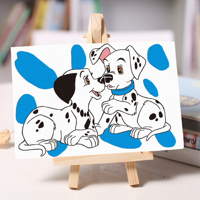 children diy cute dog oil Painting coloring by numbers student Hand ...