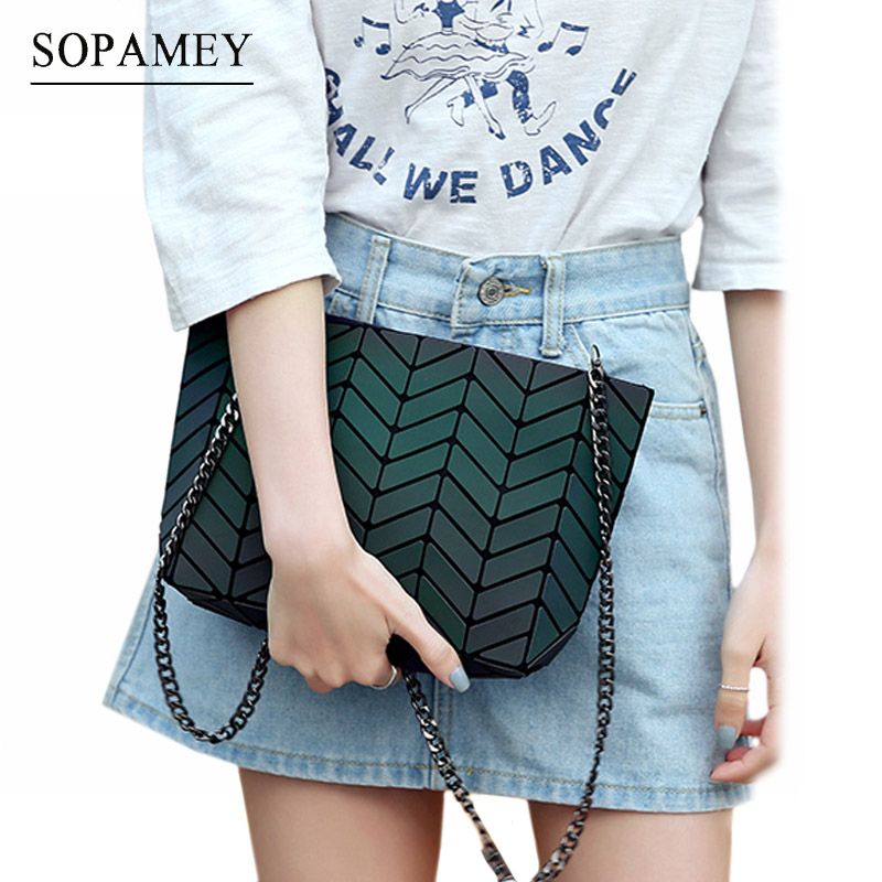 New Bao Bags for women Luminous Chain Lightnig sac bao Bag Diamond Geometry Shoulder Bags Plain Folding Messenger bags bolso geometry laser women bao bao bags women shoulder bag transformation luminous laser geometric bag diamond lattice women handbags