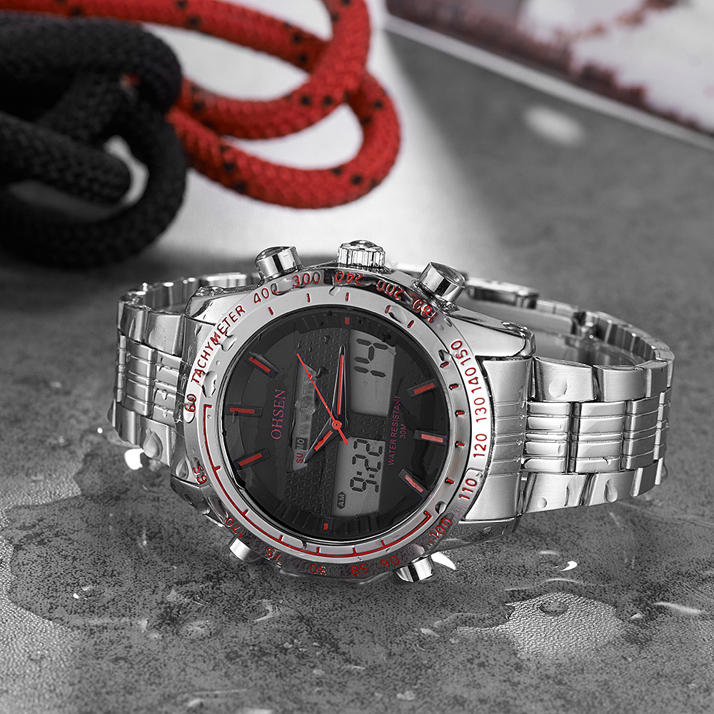 Top Sale Mode OHSEN Merk Sport Digitale Quartz Horloge Militaire Dual - Herenhorloges - Foto 4