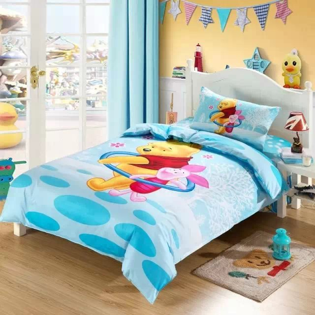winnie the pooh piglet bedding sets single twin size comforter duvet covers bedspread cotton Childrens bedroom decor 3-5pc bluewinnie the pooh piglet bedding sets single twin size comforter duvet covers bedspread cotton Childrens bedroom decor 3-5pc blue