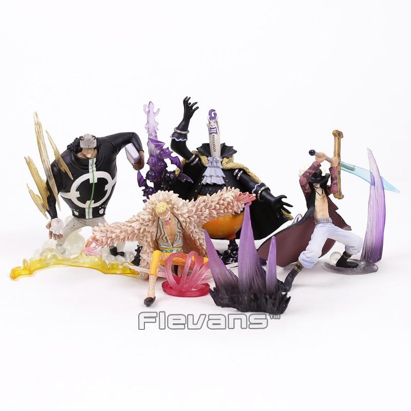 Anime One Piece Bartholemew Kuma Gekko Moria Donquixote Doflamingo Dracule Mihawk Collectible Model PVC Figures Toys 4pcs/set soria moria