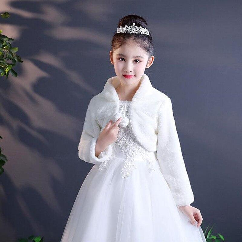 Длинная детская шаль из искусственного меха; Болеро; пальто для маленьких девочек с длинными рукавами; Сезон Зима; цвет белый, черный