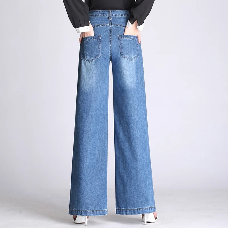 Wide leg pants for women plus size blue cotton blend denim jeans casual new fashion loose capris female autumn spring als0802 4