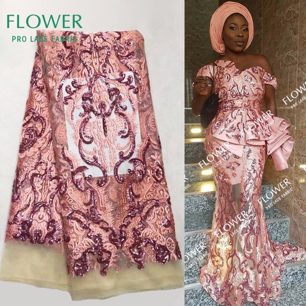 Tienda Online Diseño flor roja sequined malla Encaje Telas indio ...