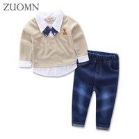 Frühling Jungen Gentleman Fliege Langarm-shirt + Hosen 2 stücke Denim Jeans Anzug Kinder Jungen 2 stück Anzug Kinder Kleidung YL540