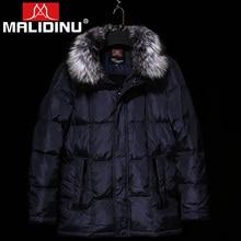 MALIDINU 2017 Brand Men Winter Down Jacket 70% Duck Down Thick Long Down Coat Parka Fox Fur Collar Russia -40C Free Shipping