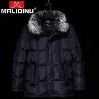 MALIDINU 2019 Brand Men Winter Down Jacket 70% Duck Down Thick Long Down Coat Parka Fox Fur Collar Russia 40C Free Shipping