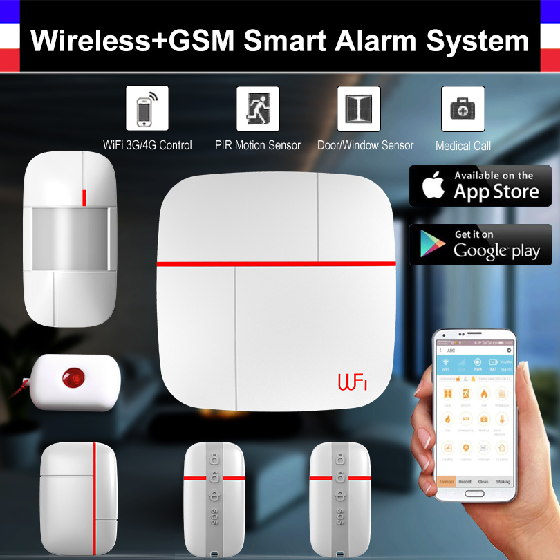 Wireless WiFi + GSM Smart Alarm System with PIR Detector Door Sensor security Medical Home Security Burglar Intelligent Kit intelligent home security alarm system with new door sensor pir detector app control sms gsm alarm system support rfid keypad
