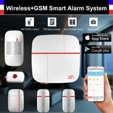 Wireless WiFi GSM Smart Alarm System with PIR Detector Door Sensor security Medical Home Security Burglar