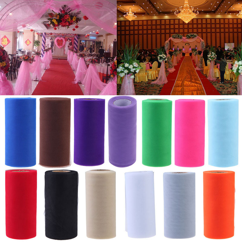 26.7X15cm Tissue Tulle Spool Craft Wedding Decoration Tulle Rolls Organza Gauze Element Table Runner Mariage Party Decoration