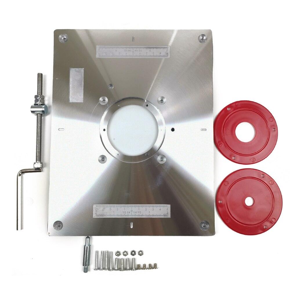 Plaque de Table de routeur en aluminium multifonctionnelle avec 2 anneaux d'insertion de routeur vis pour bancs de travail du bois