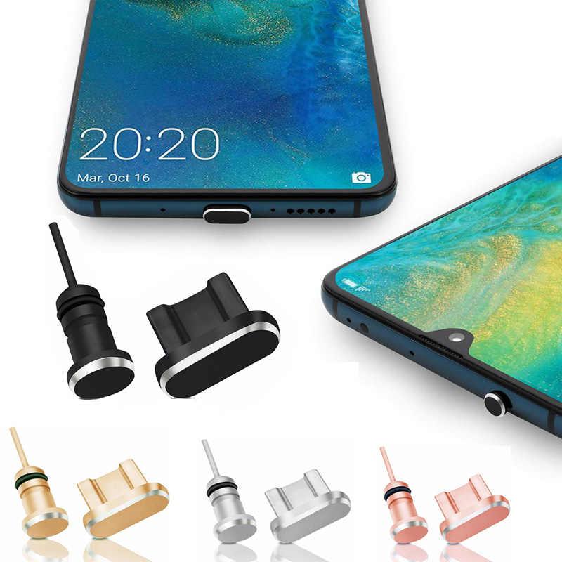 Debu PLUS Set untuk Android Tipe C Mikro untuk iPhone XR XS X 8 7 6S 5 Se Pengisian port Earphone Jack USB untuk Huawei Xiaomi Samsung