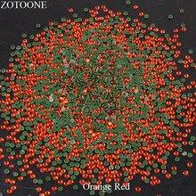 ZOTOONE HotFix Crystal Stones For Clothing Iron On FlatBack Glass Orange Red Rhinestones Nail Art Decorations Strass Applique E