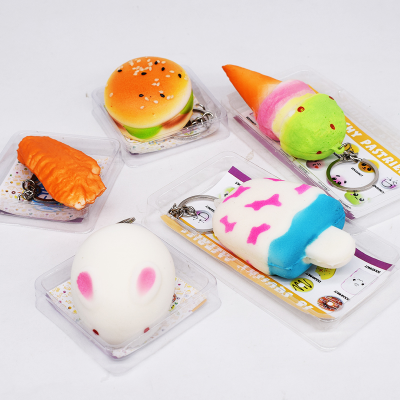 Hamburger Squishy Toys Slow Rising Antistress Key Chains Squishies Stress Relief 2018 Funny Emulate Food Soft Gadget Fun Gift ...