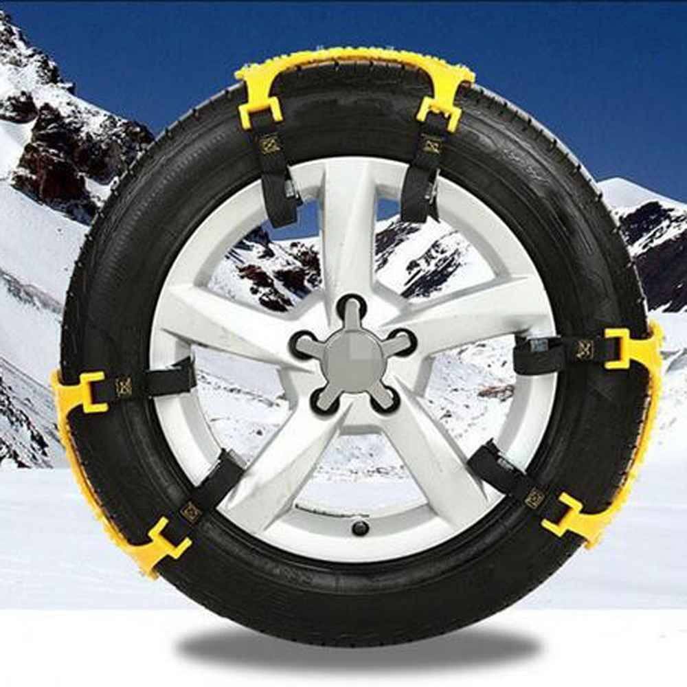 2pcsTPU Universal Thickening Car Tire Snow Chains Adjustable Anti skid Chains Safety chains double snap skid