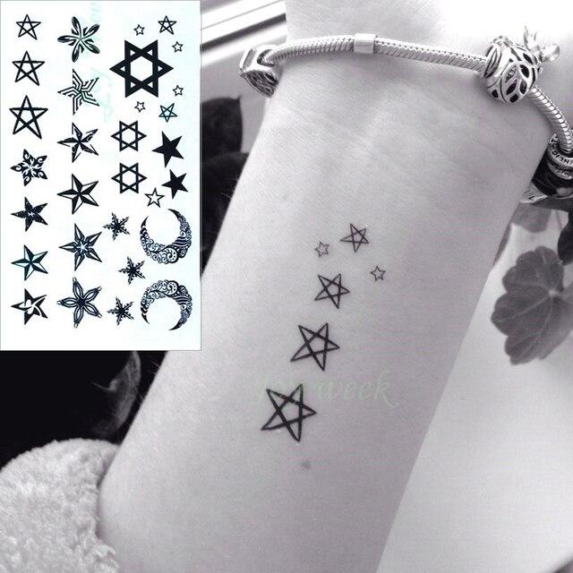 5bc175887 Waterproof Temporary Tattoo Sticker little star moon finger wrist ear bird  tatto stickers flash tatoo fake tattoos for women 4