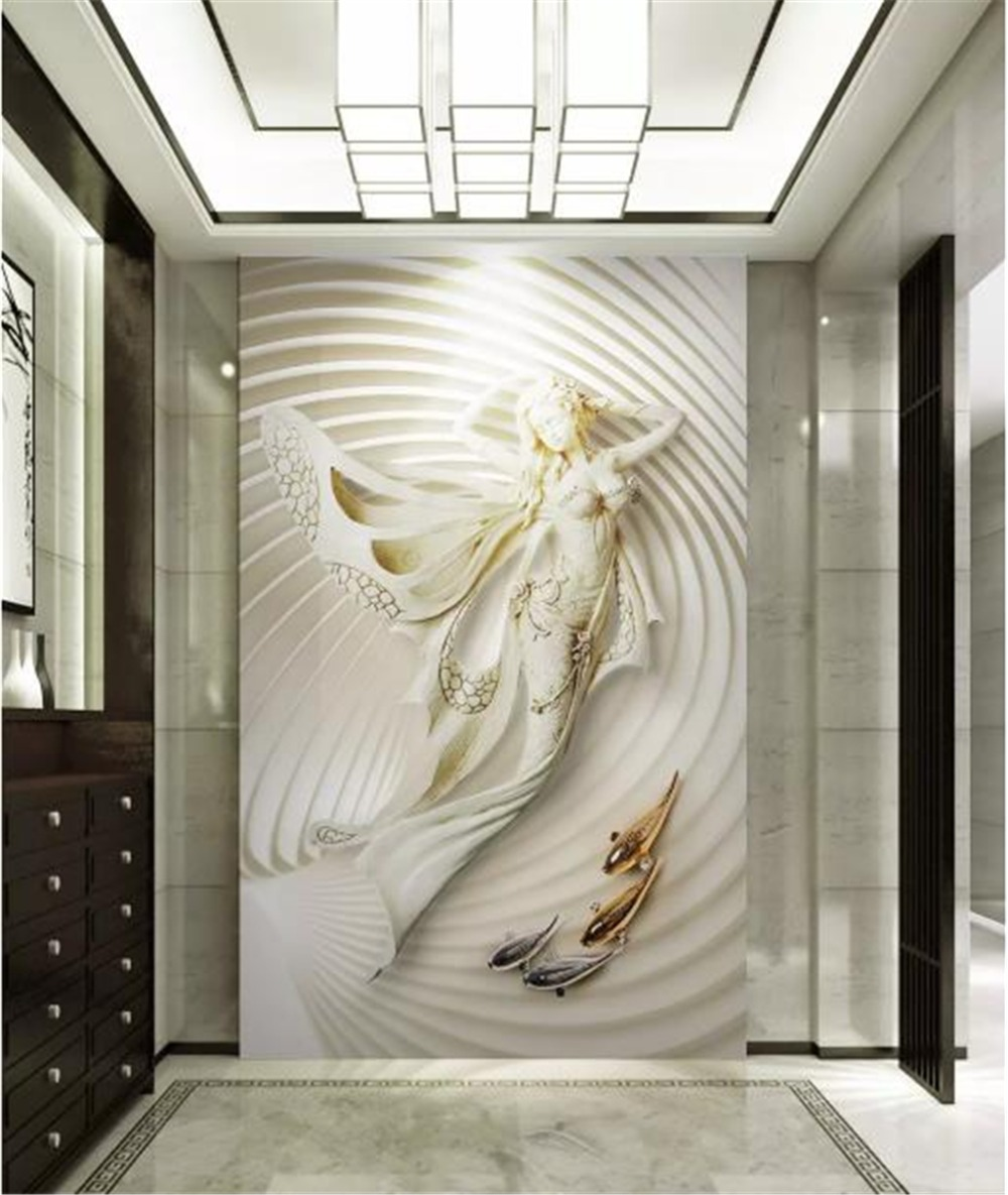 Décoration Murale En Relief us $8.48 47% off|custom wallpaper 3d fashion beautiful mermaid 3d relief  indoor porch background wall decoration mural wallpaper|wallpapers| | -