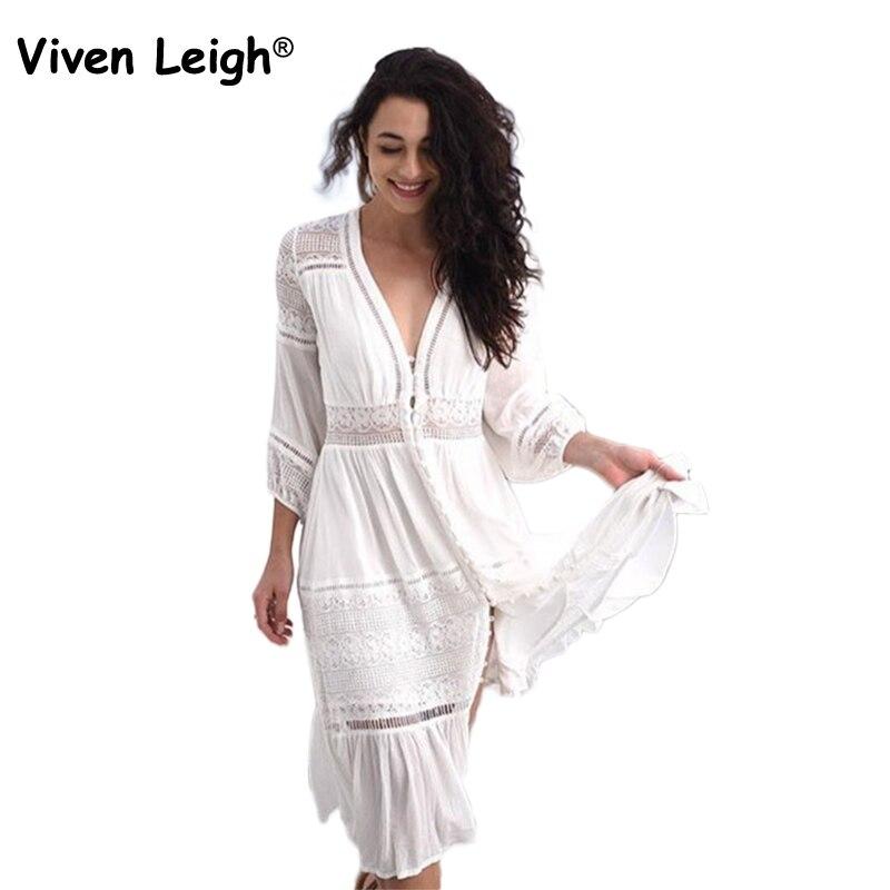 Viven Leigh белый ретро цыганский Бохо миди платья Для женщин Sexy цветочные Выдалбливают кружева лоскутное вечерние платье в богемном стиле длин...
