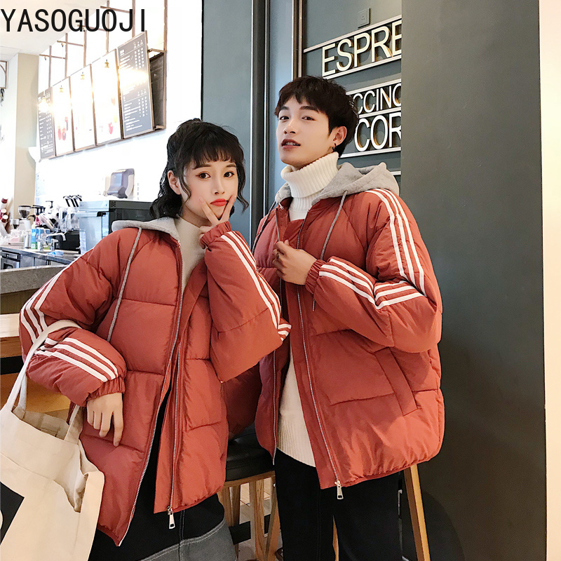 YASUGUOJI new 2019 fashion striped patchwork winter coat women Thick warm casual hooded cotton-padded jacket women   parkas   L042