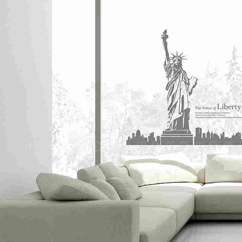 Plus Haute Qualité Autocollant Mural New York Tampon avec Statue de la Liberté