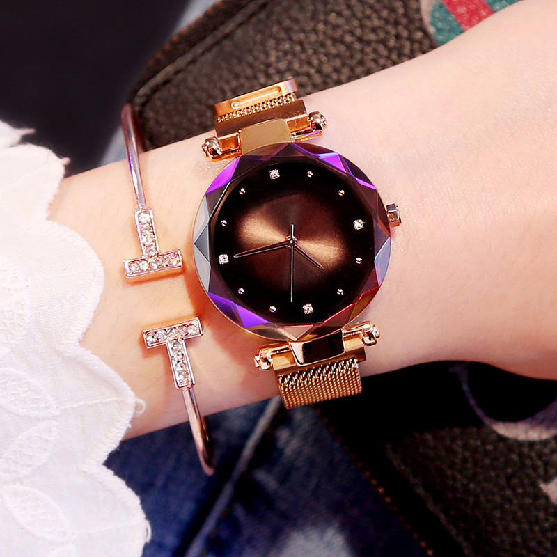 Tephea Women Watches 2019 Aurora Luxury Rose Gold Fashion Diamond Ladies Starry Sky Magnetic Waterproof Quartz Watches For Women