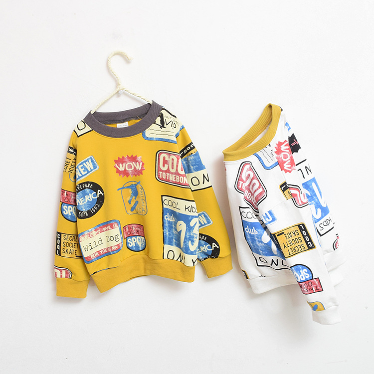 Children's wear autumn 2018 boys and girls hoodie pullover cotton long-sleeve T-shirt cartoon full printing